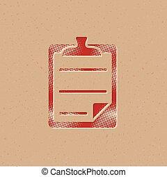 halftone, ícone, -, lista de verificação