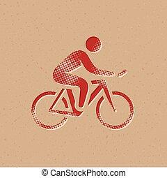 halftone, サイクリング, アイコン, -