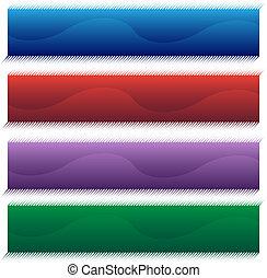halftone, セット, 旗, 波