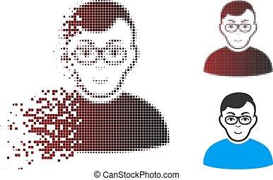 halftone, ピクセル, きらめき, 人, nerd, アイコン