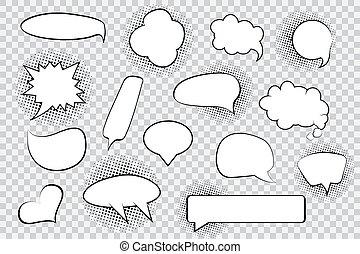 halftone, ブランク, 漫画, スピーチ, 泡, セット