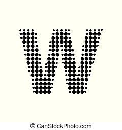 """halftone, ロゴ, 芸術, style., ポンとはじけなさい, """"w"""", 新しい, 手紙, ベクトル, デザイン"""