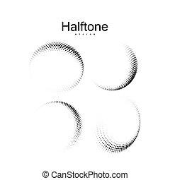 Halftone 3d curved shapes set. Vector halftone spherical strokes. Dotted flying ribbons. Design element collection. Applicable for web and print design