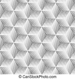 halftone abstract background like cubes. Pattern with stars