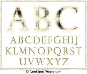 Halftone alphabet. Full set .