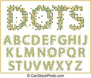 halftone, alphabet.