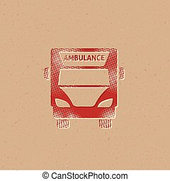 halftone, -, ambulância, ícone