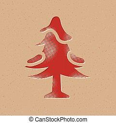 halftone, arbre, -, icône