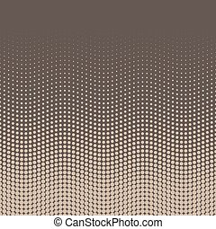 Halftone background of dots in wavy arrangement. Beige-brown bottom-top gradient. Abstract retro coffee style vector wallpaper