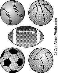 halftone, balles, sports