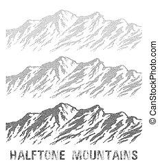 halftone, bergskedja, set.