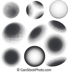 Halftone black and white design elements
