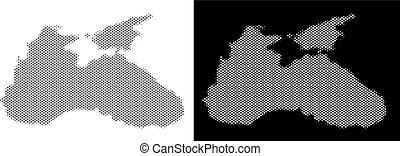 Halftone Black Sea Map - Halftone circle pixel Black Sea...