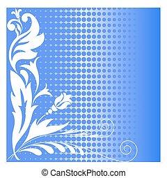 halftone blue flowers