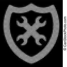 halftone, branca, configuração, segurança, ícone
