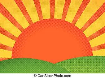 Halftone print styled sunrise over green hills