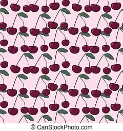 Halftone cherry fruit in pastel shades, seamless pattern,