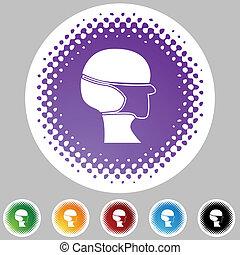 halftone, chirurgisch, set, masker, pictogram