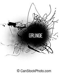 Halftone circle shapes with grunge splatter ink. Abstract grunge center design background.