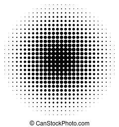 Halftone circles, halftone dots pattern. Monochrome half-...