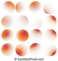 Halftone circles set. EPS 10