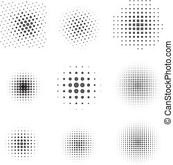 Halftone circles - set of halftone circles in different ...