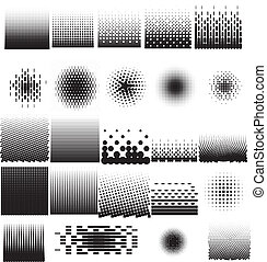 Collection set of different abstract halftone art elements. Dots, squares, and line patterns included.