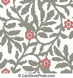 Halftone colorful seamless retro pattern garden green spiral leaf red flower