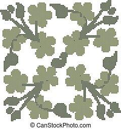 Halftone colorful seamless retro pattern cross clover green leaf vine