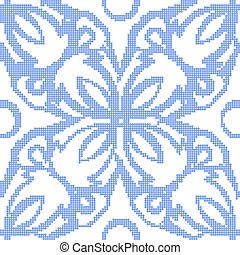 Halftone colorful seamless retro pattern elegant blue round curve cross flower vine