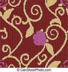 Halftone colorful seamless retro pattern spiral gold leaf vine purple pink rose flower