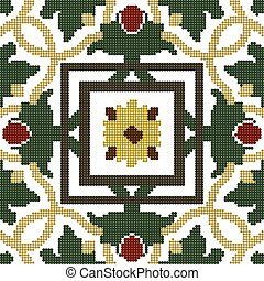 Halftone colorful seamless retro pattern green vine leaf red flower cross