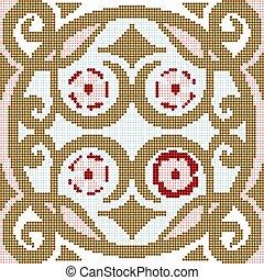 Halftone colorful seamless retro pattern round spiral vintage flower cross
