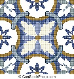 Halftone colorful seamless retro pattern vintage blue flower round cross chain