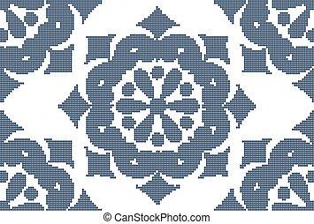 Halftone colorful seamless retro pattern vintage blue round flower