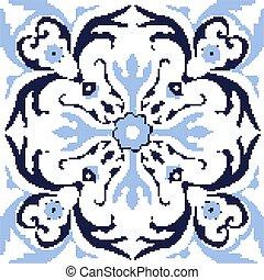 Halftone colorful seamless retro pattern vintage blue spiral round flower vine