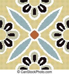 Halftone colorful seamless retro pattern vintage cross round flower