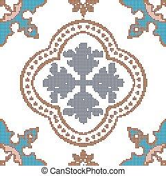 Halftone colorful seamless retro pattern vintage round flower dot kaleidoscope