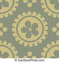 Halftone colorful seamless retro pattern vintage round flower