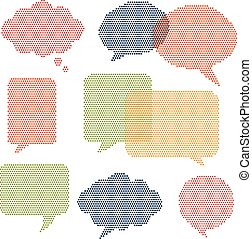 Halftone Comic Word Bubbles - Set of word bubbles with...