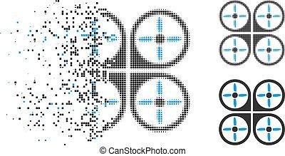 halftone, decomposed, copter, pictogram, pixel
