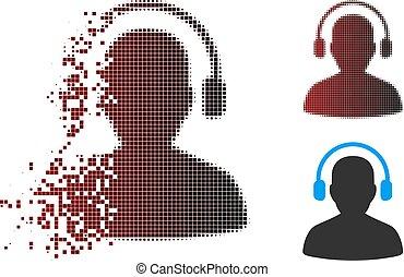 halftone, desintegração, operador, escutar, pixel, ícone