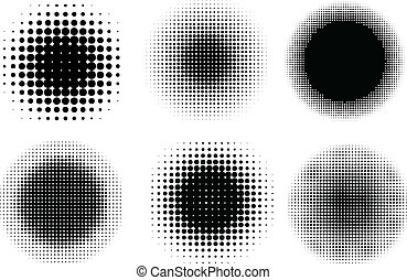 Halftone dots - Various different circular halftone dot...