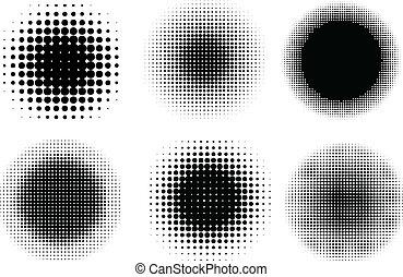 Various different circular halftone dot designs