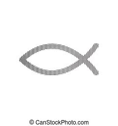 Halftone dotted Christian symbol, Jesus fish icon isolated on white background. The fish symbol is a pictorial representation of the Greek word Ichthys.
