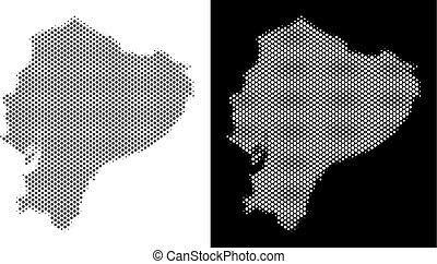 Halftone Ecuador Map - Halftone circle dot Ecuador map....