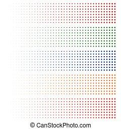 halftone, elements., 褪色, 圈子, 在, 5, colors.