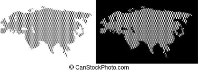 Halftone Eurasia Map - Halftone circle dot Eurasia map....