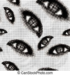 Halftone eyes seamless vector background