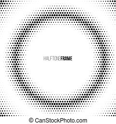 Halftone frame made of dots. Vector design element. One click to change color.